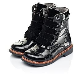 Детские демисезонные ботинки Woopy Orthopedic черные для девочек натуральная лаковая кожа размер 26-26 (7092) Фото 3