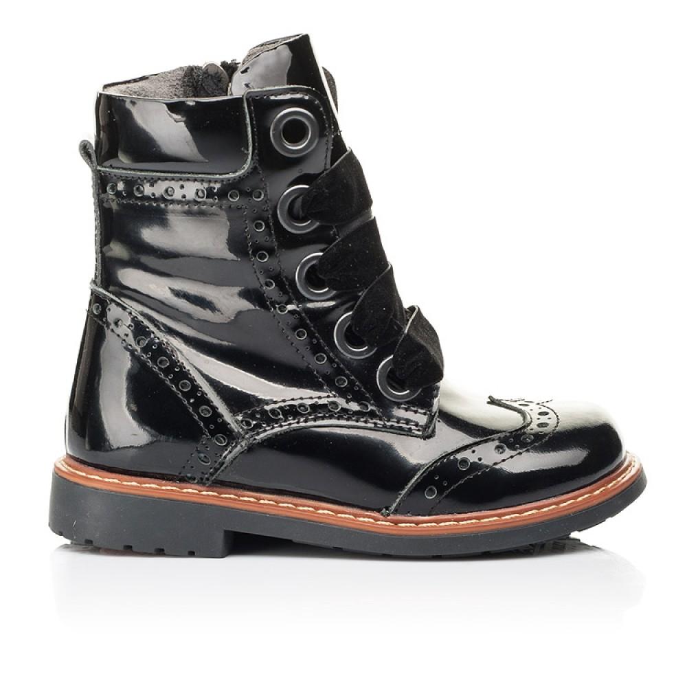 Детские демисезонные ботинки Woopy Orthopedic черные для девочек натуральная лаковая кожа размер 24-30 (7092) Фото 4