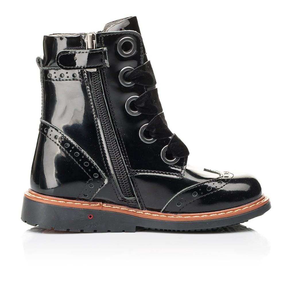 Детские демисезонные ботинки Woopy Orthopedic черные для девочек натуральная лаковая кожа размер 24-30 (7092) Фото 5