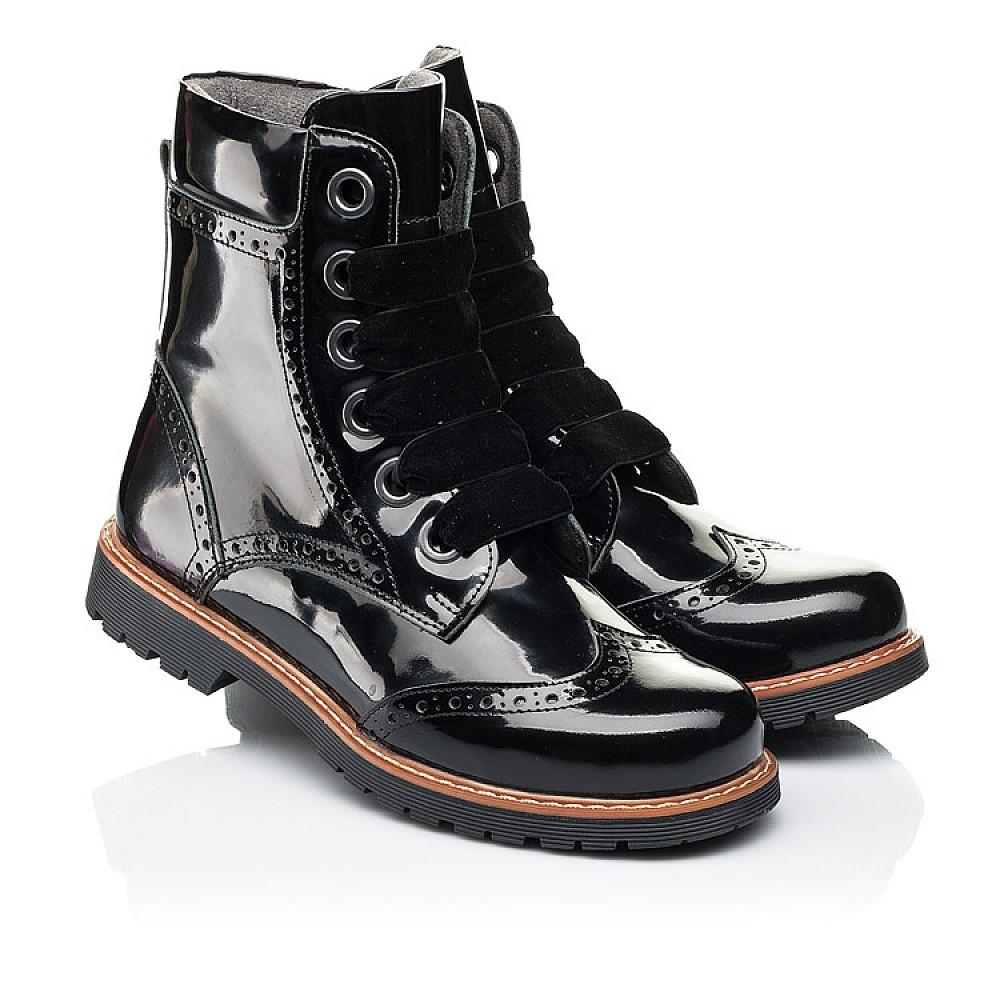 Детские демисезонные ботинки Woopy Orthopedic черные для девочек натуральная лаковая кожа размер 30-40 (7093) Фото 1