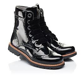 Детские демисезонные ботинки Woopy Orthopedic черные для девочек натуральная лаковая кожа размер 31-40 (7093) Фото 1