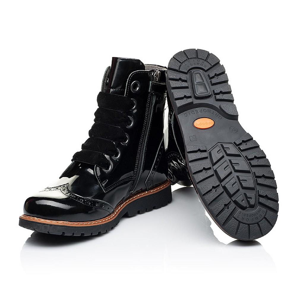 Детские демисезонные ботинки Woopy Orthopedic черные для девочек натуральная лаковая кожа размер 30-40 (7093) Фото 2