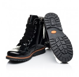 Детские демисезонные ботинки Woopy Orthopedic черные для девочек натуральная лаковая кожа размер 31-40 (7093) Фото 2