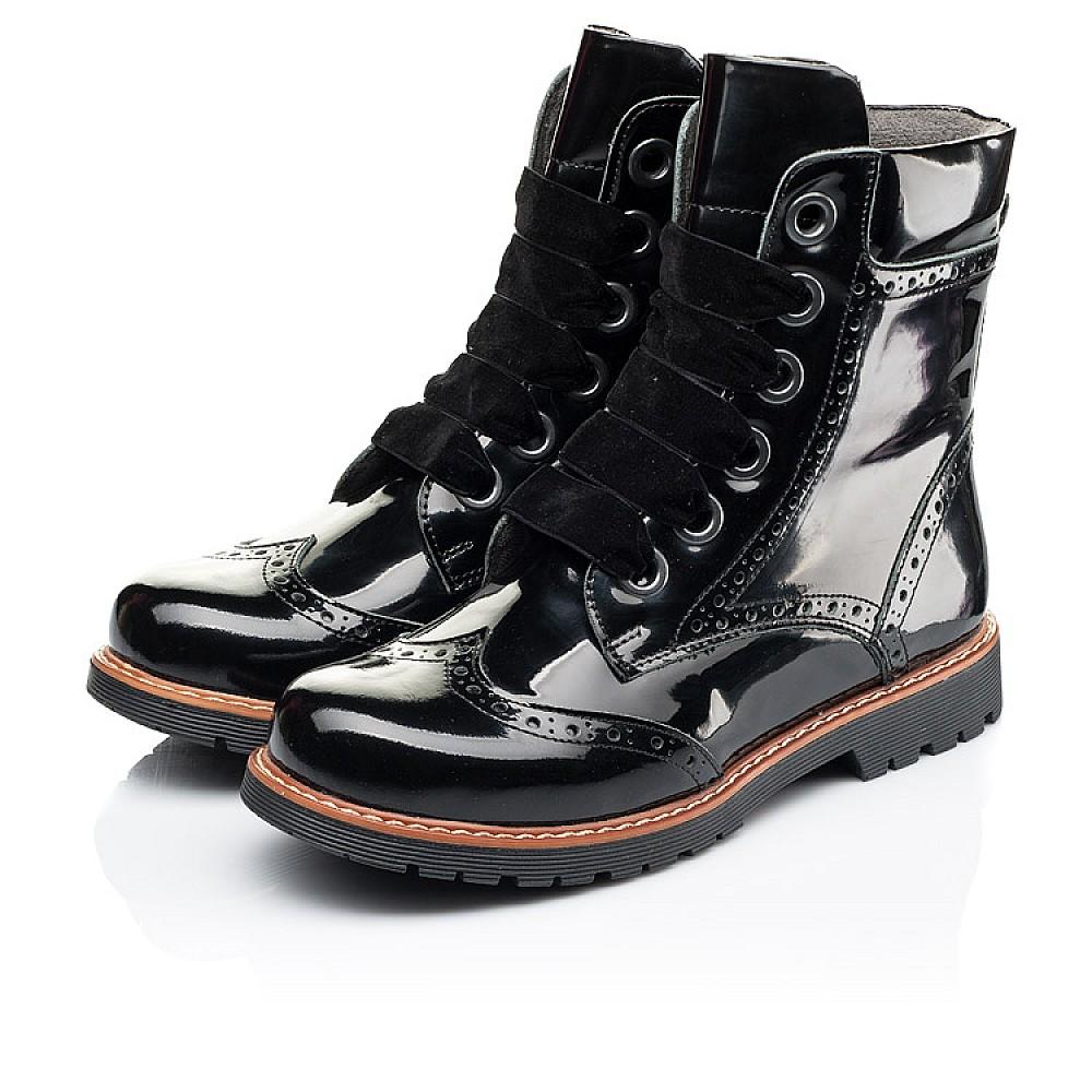 Детские демисезонные ботинки Woopy Orthopedic черные для девочек натуральная лаковая кожа размер 30-40 (7093) Фото 3