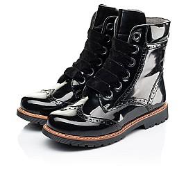 Детские демисезонные ботинки Woopy Orthopedic черные для девочек натуральная лаковая кожа размер 31-40 (7093) Фото 3