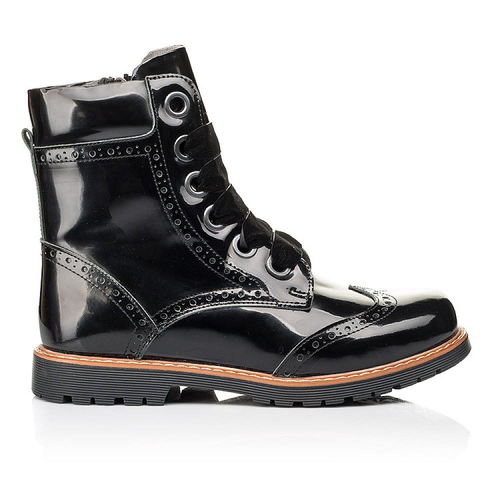 Детские демисезонные ботинки Woopy Orthopedic черные для девочек натуральная лаковая кожа размер 30-40 (7093) Фото 4