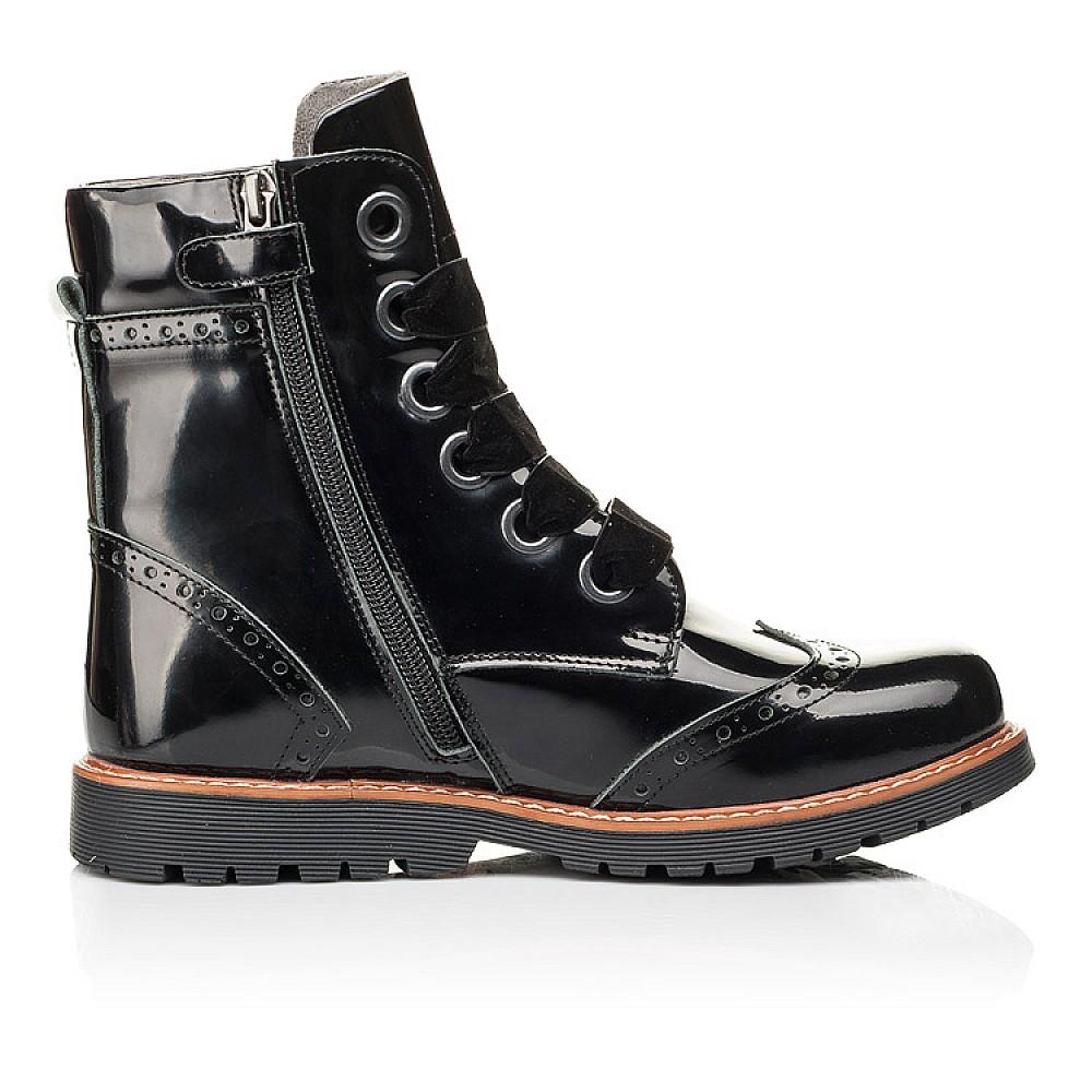 Детские демисезонные ботинки Woopy Orthopedic черные для девочек натуральная лаковая кожа размер 30-40 (7093) Фото 5