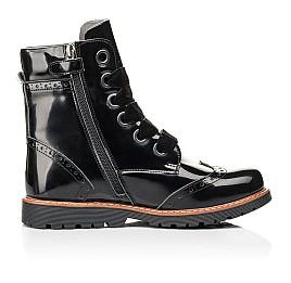 Детские демисезонные ботинки Woopy Orthopedic черные для девочек натуральная лаковая кожа размер 31-40 (7093) Фото 5
