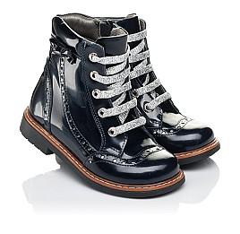 Детские демисезонные ботинки Woopy Orthopedic синие для девочек натуральная лаковая кожа размер 25-27 (7094) Фото 1