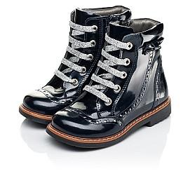 Детские демисезонные ботинки Woopy Orthopedic синие для девочек натуральная лаковая кожа размер 25-27 (7094) Фото 3