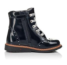 Детские демисезонные ботинки Woopy Orthopedic синие для девочек натуральная лаковая кожа размер 25-27 (7094) Фото 4