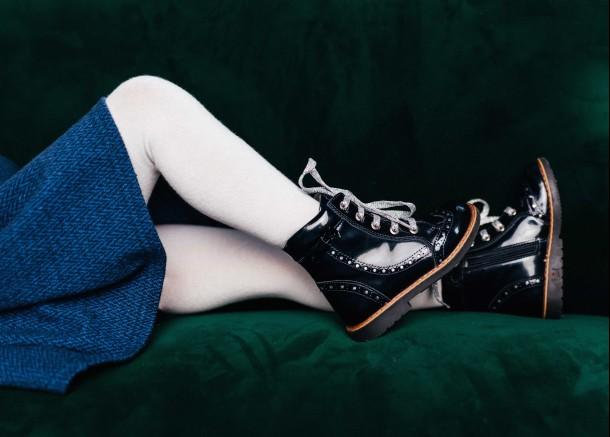 Девочка обута в детские демисезонные ботинки Woopy Orthopedic синие (7094) Фото 1