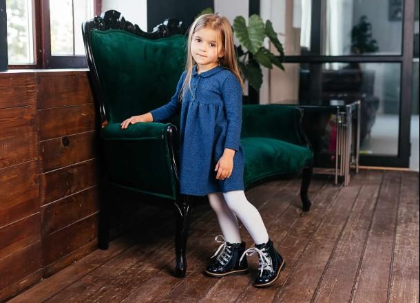 Девочка обута в детские демисезонные ботинки Woopy Orthopedic синие (7094) Фото 2