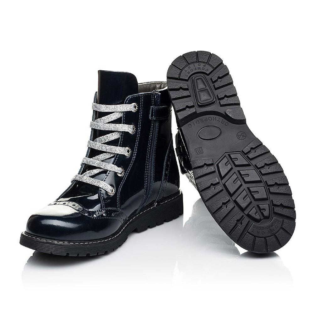 Детские демисезонные ботинки Woopy Orthopedic синие для девочек натуральная лаковая кожа размер 32-39 (7095) Фото 2