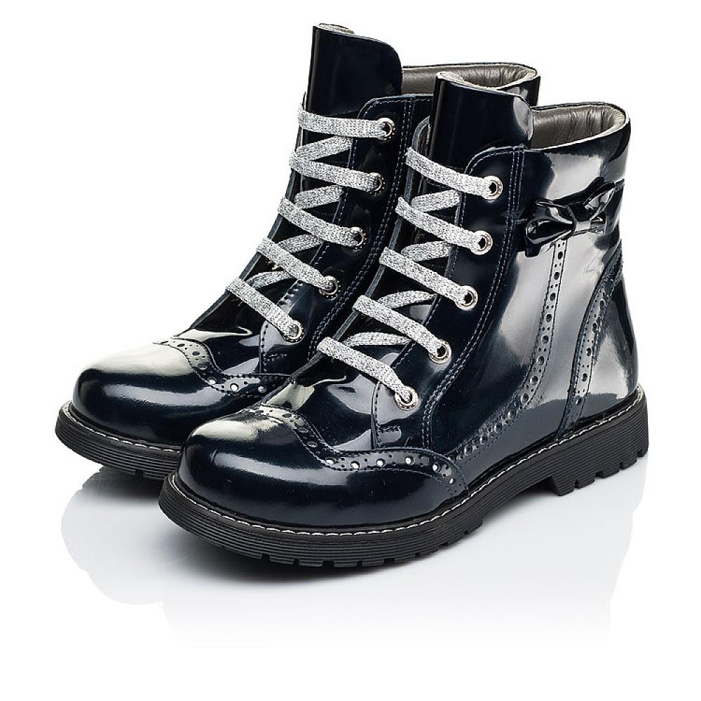 Детские демисезонные ботинки Woopy Orthopedic синие для девочек натуральная лаковая кожа размер 32-39 (7095) Фото 3