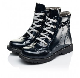 Детские демисезонные ботинки Woopy Orthopedic синие для девочек натуральная лаковая кожа размер 37-39 (7095) Фото 3