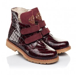 Детские демисезонные ботинки Woopy Orthopedic бордовые для девочек натуральная лаковая кожа размер 24-36 (7096) Фото 1