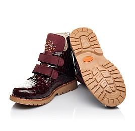 Детские демисезонные ботинки Woopy Orthopedic бордовые для девочек натуральная лаковая кожа размер 24-36 (7096) Фото 2