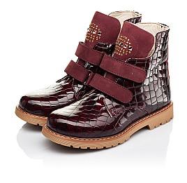 Детские демисезонные ботинки Woopy Orthopedic бордовые для девочек натуральная лаковая кожа размер 24-36 (7096) Фото 3
