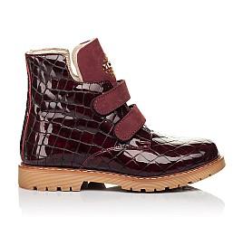 Детские демисезонные ботинки Woopy Orthopedic бордовые для девочек натуральная лаковая кожа размер 24-36 (7096) Фото 4