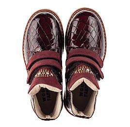 Детские демисезонные ботинки Woopy Orthopedic бордовые для девочек натуральная лаковая кожа размер 24-36 (7096) Фото 5