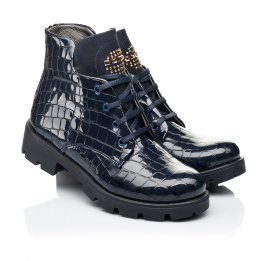Детские демисезонные ботинки Woopy Fashion синие для девочек натуральная лаковая кожа размер 36-39 (7100) Фото 1