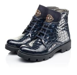 Детские демисезонные ботинки Woopy Fashion синие для девочек натуральная лаковая кожа размер 36-39 (7100) Фото 3