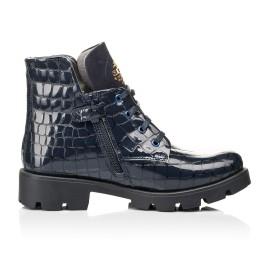 Детские демисезонные ботинки Woopy Fashion синие для девочек натуральная лаковая кожа размер 36-39 (7100) Фото 5