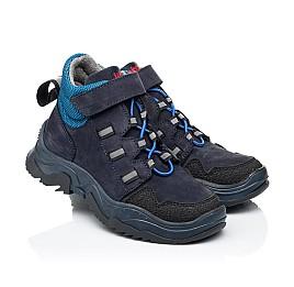 Детские демисезонные ботинки Woopy Fashion синие для мальчиков натуральный нубук размер 26-37 (7105) Фото 1