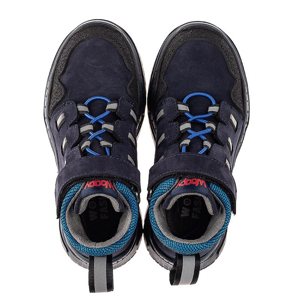 Детские демисезонные ботинки Woopy Fashion синие для мальчиков натуральный нубук размер 26-37 (7105) Фото 5