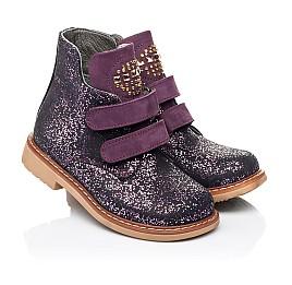 Детские демисезонные ботинки Woopy Orthopedic фиолетовые для девочек натуральный нубук размер 20-29 (7106) Фото 1