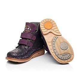 Детские демисезонные ботинки Woopy Orthopedic фиолетовые для девочек натуральный нубук размер 20-29 (7106) Фото 2