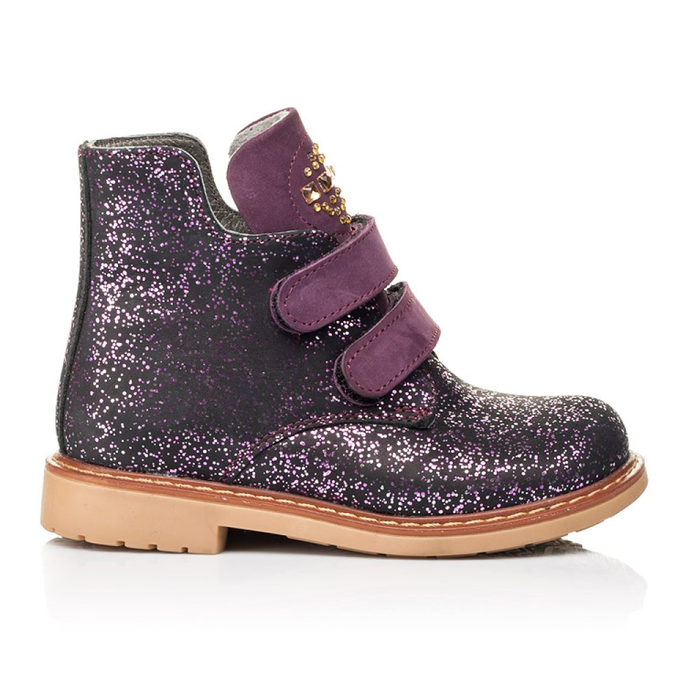 Детские демисезонные ботинки Woopy Orthopedic фиолетовые для девочек натуральный нубук размер 20-30 (7106) Фото 4