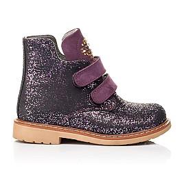 Детские демисезонные ботинки Woopy Orthopedic фиолетовые для девочек натуральный нубук размер 20-29 (7106) Фото 4