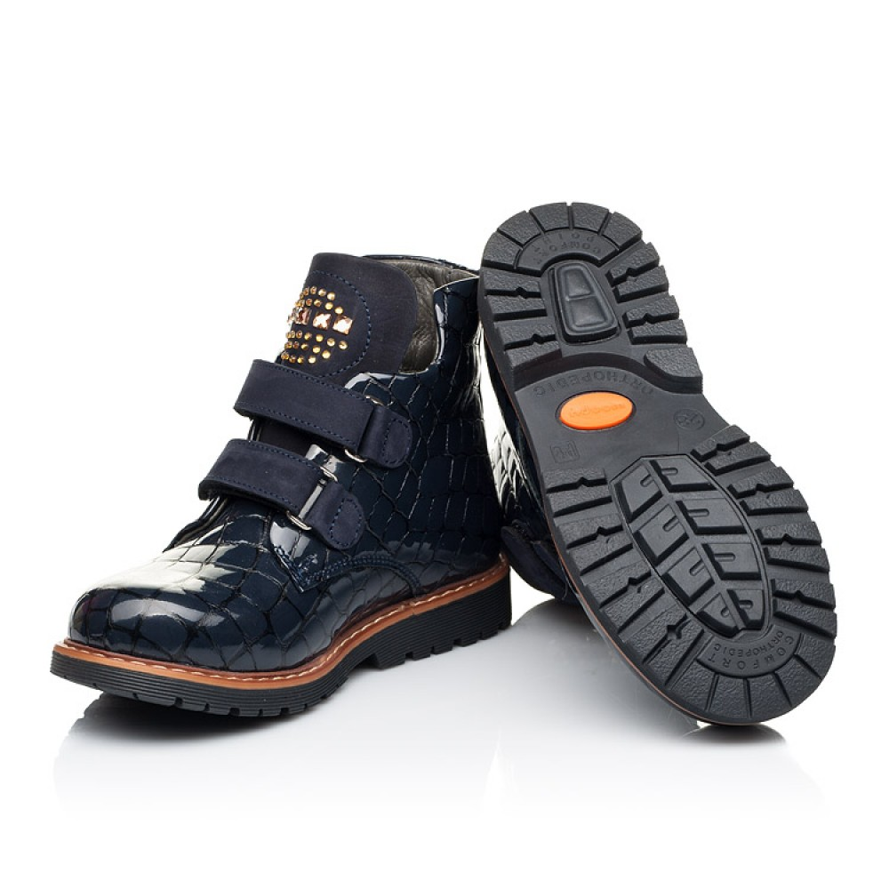 Детские демисезонные ботинки Woopy Orthopedic синие для девочек натуральная лаковая кожа размер 22-32 (7107) Фото 2