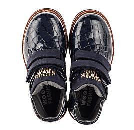 Детские демисезонные ботинки Woopy Orthopedic синие для девочек натуральная лаковая кожа размер 22-32 (7107) Фото 5