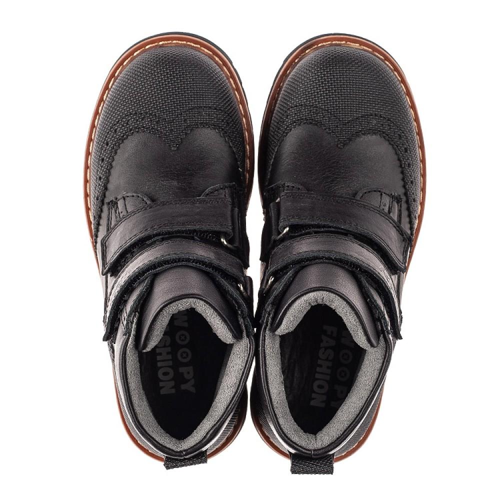 Детские демисезонные ботинки Woopy Orthopedic черные для мальчиков натуральная кожа размер 24-35 (7108) Фото 5