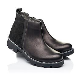 Детские демисезонные ботинки Woopy Fashion черные для девочек натуральная кожа и замша размер 32-37 (7109) Фото 1