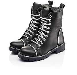 Детские демисезонные ботинки Woopy Fashion черные для девочек натуральная кожа размер 33-40 (7112) Фото 3