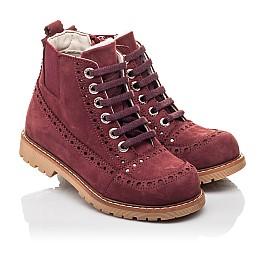 Детские демисезонные ботинки Woopy Orthopedic бордовые для девочек натуральный нубук размер 29-40 (7114) Фото 1