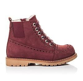 Детские демисезонные ботинки Woopy Orthopedic бордовые для девочек натуральный нубук размер 29-40 (7114) Фото 4