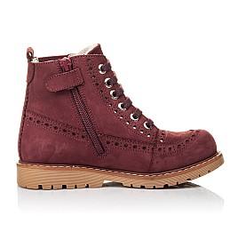 Детские демисезонные ботинки Woopy Orthopedic бордовые для девочек натуральный нубук размер 29-40 (7114) Фото 5