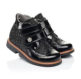 Детские демисезонные ботинки Woopy Orthopedic черные для девочек натуральная лаковая кожа и нубук размер 22-35 (7115) Фото 1