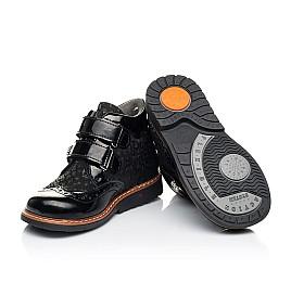 Детские демисезонные ботинки Woopy Orthopedic черные для девочек натуральная лаковая кожа и нубук размер 22-35 (7115) Фото 2