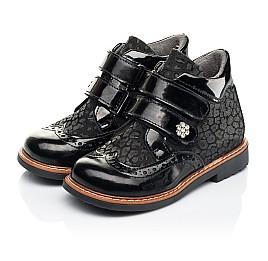 Детские демисезонные ботинки Woopy Orthopedic черные для девочек натуральная лаковая кожа и нубук размер 22-35 (7115) Фото 3