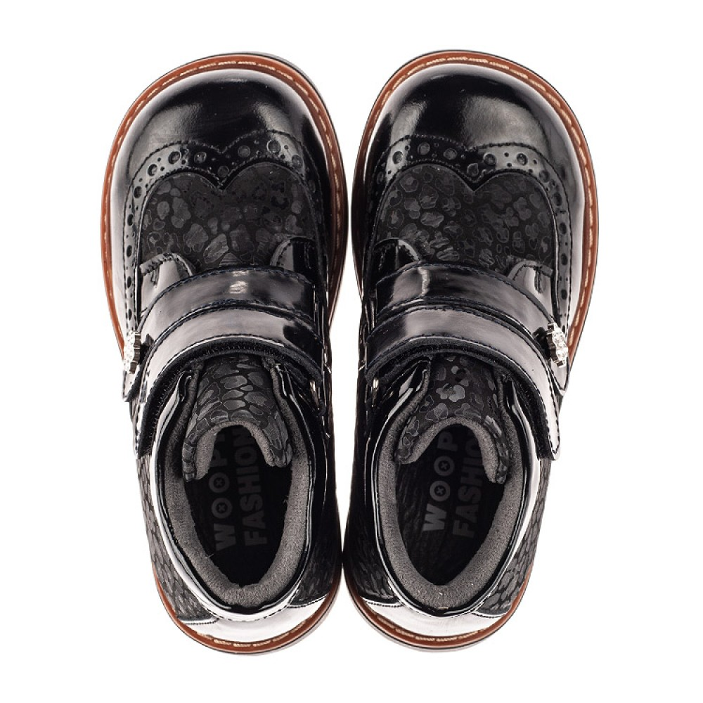 Детские демисезонные ботинки Woopy Orthopedic черные для девочек натуральная лаковая кожа и нубук размер 22-35 (7115) Фото 5