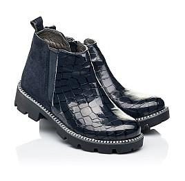 Детские демисезонные ботинки Woopy Orthopedic черные для девочек натуральная лаковая кожа и замша размер 28-39 (7116) Фото 1