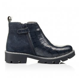 Детские демисезонные ботинки Woopy Orthopedic черные для девочек натуральная лаковая кожа и замша размер 28-39 (7116) Фото 5
