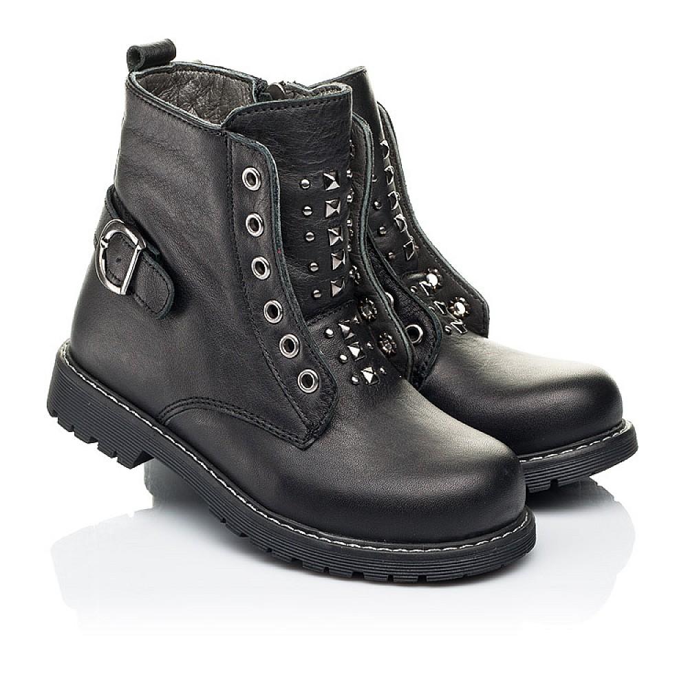 Детские демисезонные ботинки Woopy Orthopedic черные для девочек натуральная кожа размер 24-34 (7117) Фото 1