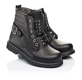 Детские демисезонные ботинки Woopy Orthopedic черные для девочек натуральная кожа размер 24-32 (7117) Фото 1